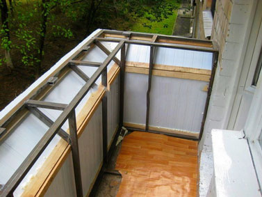 Вынос балкона по раме